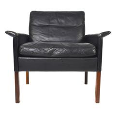 Hans Olsen Model 500 Lounge Chair in Black Leather and Rosewood, Denmark, 1960s