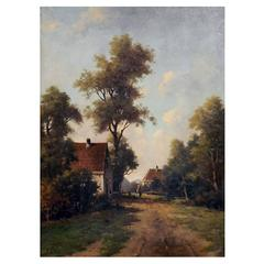 'An Old Country Lane' Painting by Dutch Painter Adriaan Geijp