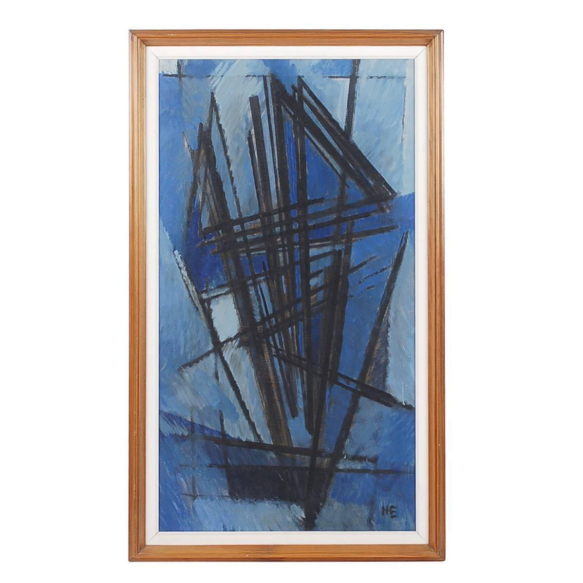 Mid Century Modern Abstract Cubist Oil On Canvas Signed For Sale At 1stdibs