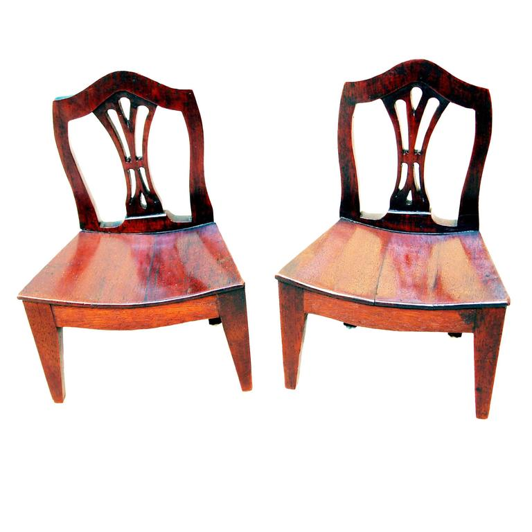 Antique Pair of Miniature Mahogany Chairs For Sale