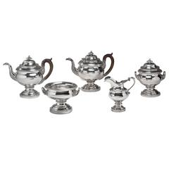Five-Piece Coin Silver Tea Service