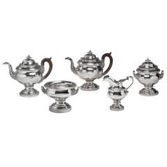 Five-Piece Coin Silver Tea Service