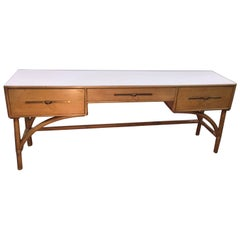 Birch and Rattan Console Table by Tommi Parzinger
