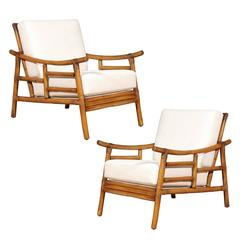 Restored Pair of Early Loungers by John Wisner for Ficks Reed