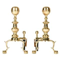 Vintage Solid Brass English Andirons