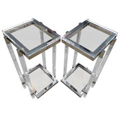 Lucite and Polished Nickel Pedestals/Tables by Charles Hollis Jones