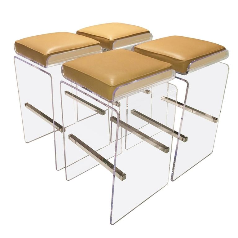 """Set of Four """"Waterfall"""" Barstools with Swivel Seats by Charles Hollis Jones"""