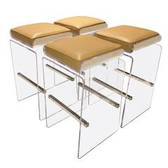 "Set of Four ""Waterfall"" Barstools with Swivel Seats by Charles Hollis Jones"