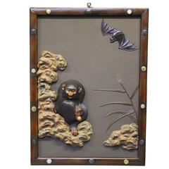 Japanese Multimetal Wall Panel Depicting a Monkey with a Hurt Foot and a Bat