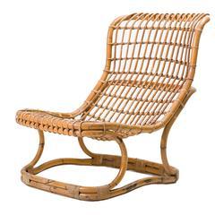 Tito Agnoli Rattan Lounge Chair for Bonacina, Italy