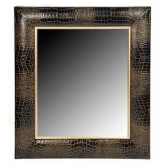 Classic Black Croc Leather Framed Mirror with Hand Painter Gold Tippin