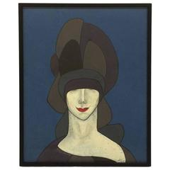 Witty Portait of Woman in Hat with Red Lips, Jerry Williamson