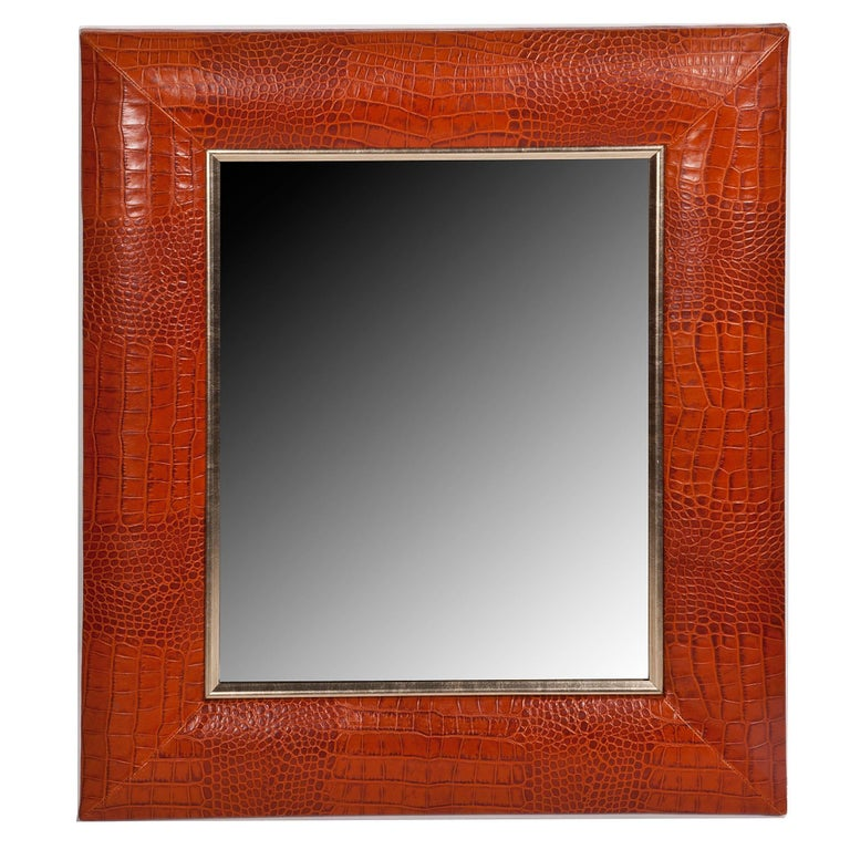 Contemporary Cogna Croc Leather Framed Mirror with Champagne Gold Detailing For Sale