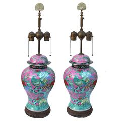 19th Century Famille Rose Ginger Jar Table Lamps with Bird and Flowers
