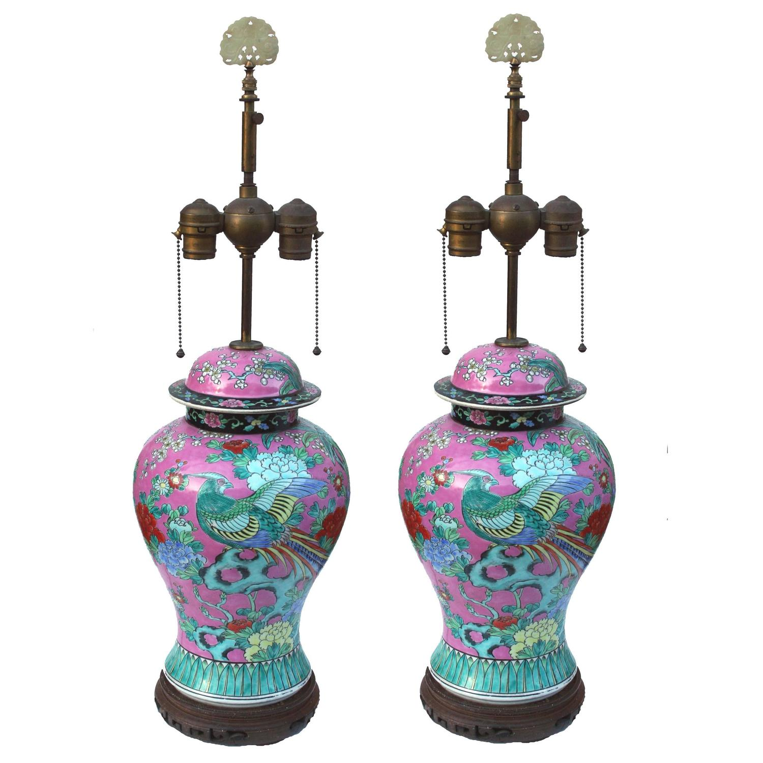 19th century famille rose ginger jar table lamps with bird and flowers. Black Bedroom Furniture Sets. Home Design Ideas