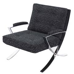 Scissor X-Base Chrome Lounge Chair with New Upholstery