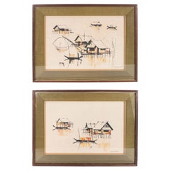 Pair of C. Palasak Gouaches of River Houses, Signed