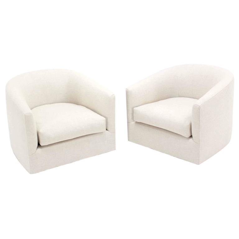 Pair Of Barrel Back Swivel Chairs With New Upholstery For Sale