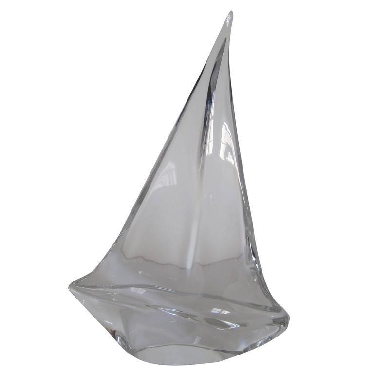 Substantial Daum Crystal Sailboat Yacht Sculpture