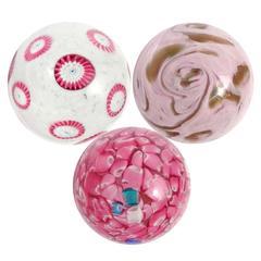 Murano Pink Millefiori Flowers, Confetti, Swirl Italian Art Glass Paperweights
