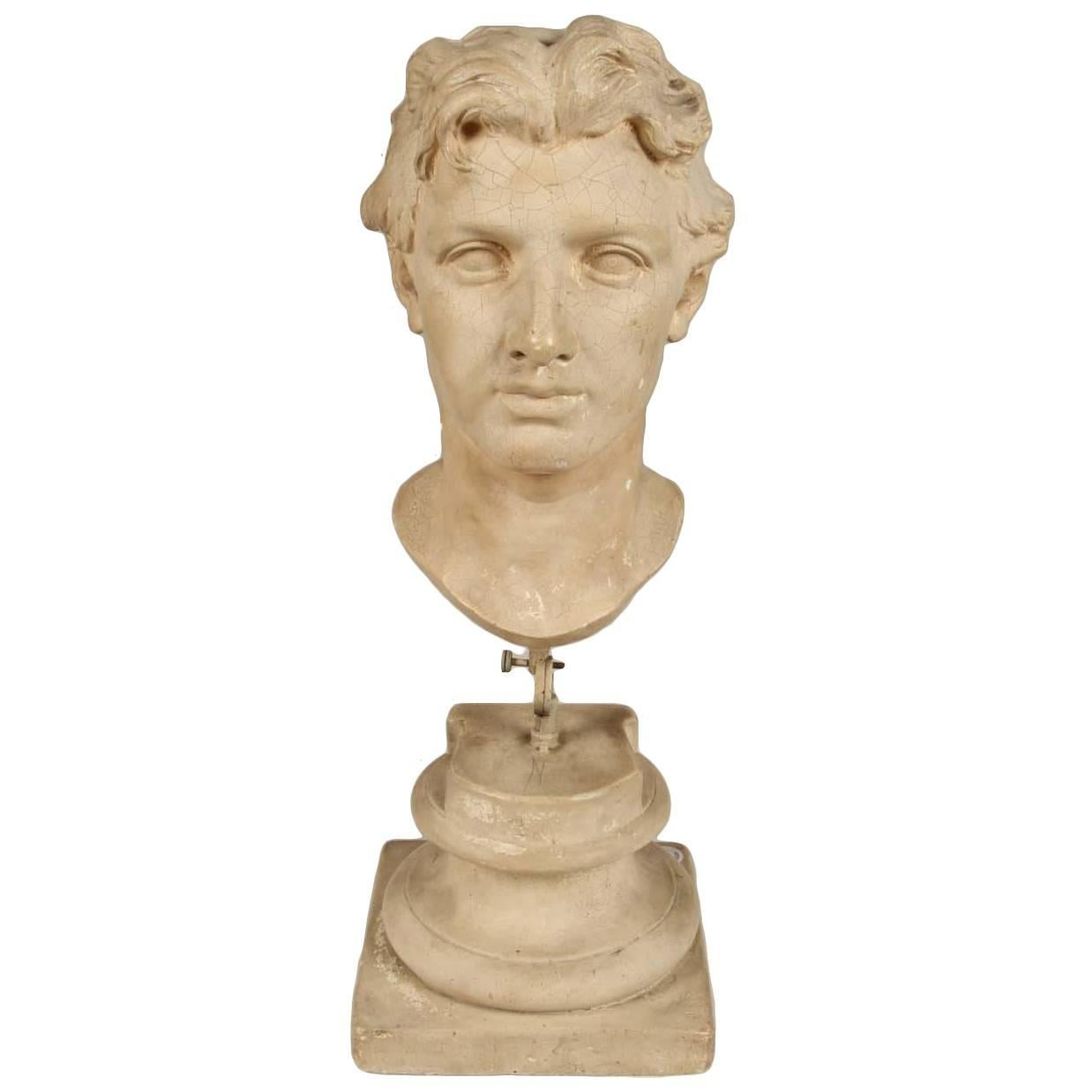 Plaster Bust of a Man on Stand