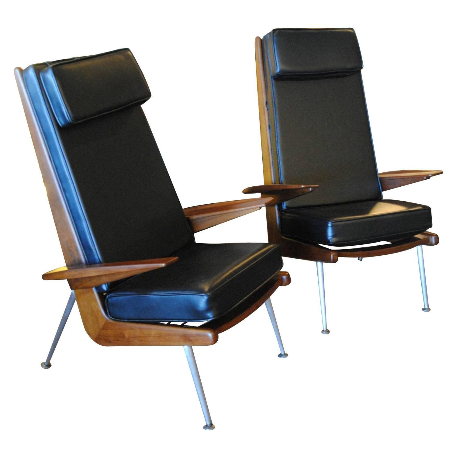 Pair of Boomerang Lounge Chairs For Sale at 1stdibs