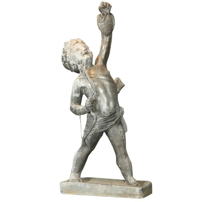 Fine Lead Statue of Cupid 'Eros' For Sale