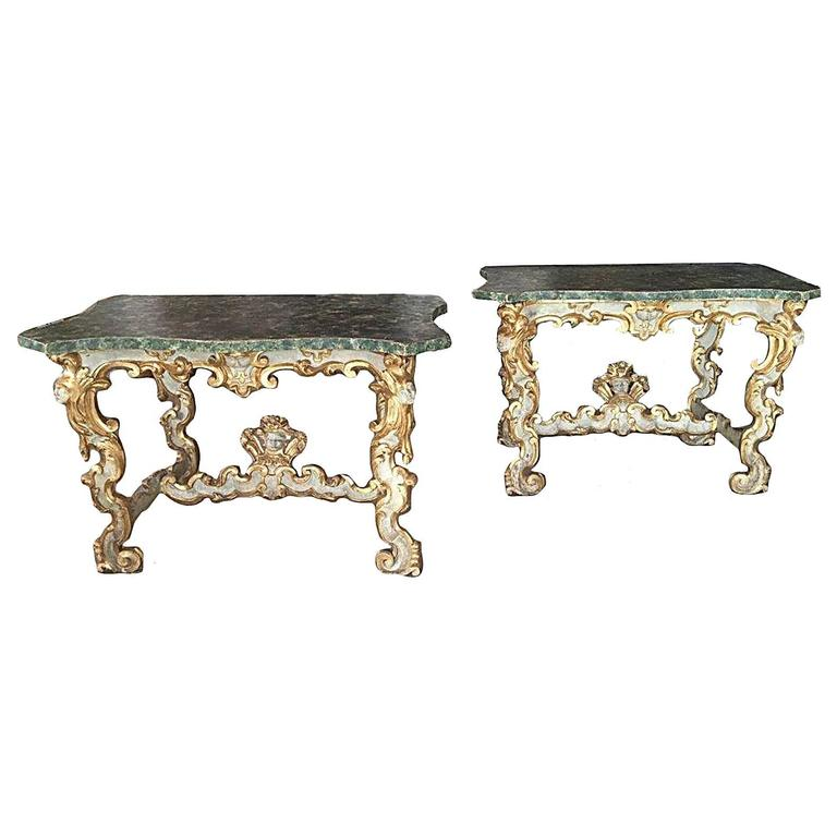 Rare and Dramatic Carved Pair of Italian 18th Century Parcel Gilt and Painted