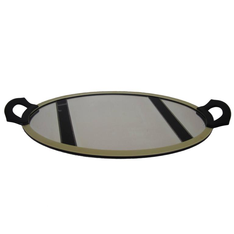 Oval French Art Deco Mirrored Vanity Tray