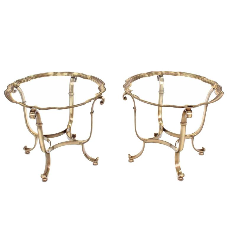Pair of Round Scalloped Edge Side Tables For Sale