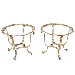 Pair of Round Scalloped Edge Side Tables