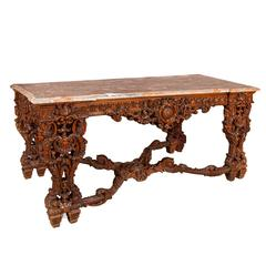 Large Regence Style Mahogany Centre Table with Marble Top