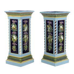Near Pair of Rare Minton Majolica Pedestals