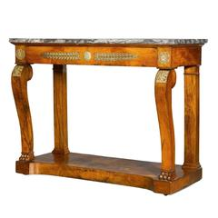 Empire Period Ormolu-Mounted Mahogany Console Table