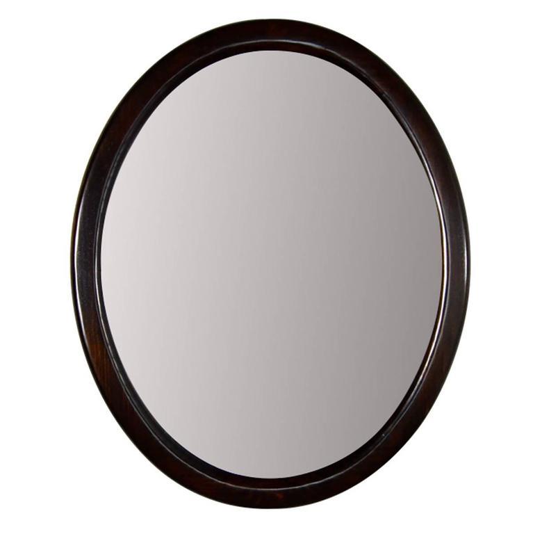 Elegant oval walnut mirror 1950s at 1stdibs for Elegant mirrors