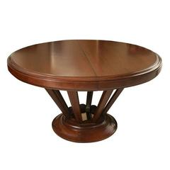 French Art Deco Round Walnut Dining Table with Extensions