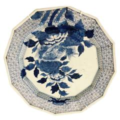 Japanese Blue and White Charger Peonies, 19th Century