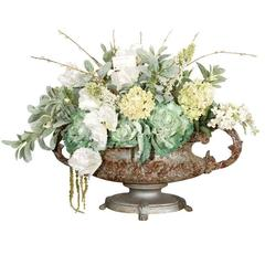 Large French 19th C Cast Iron Tabletop Urn with Faux Flowers