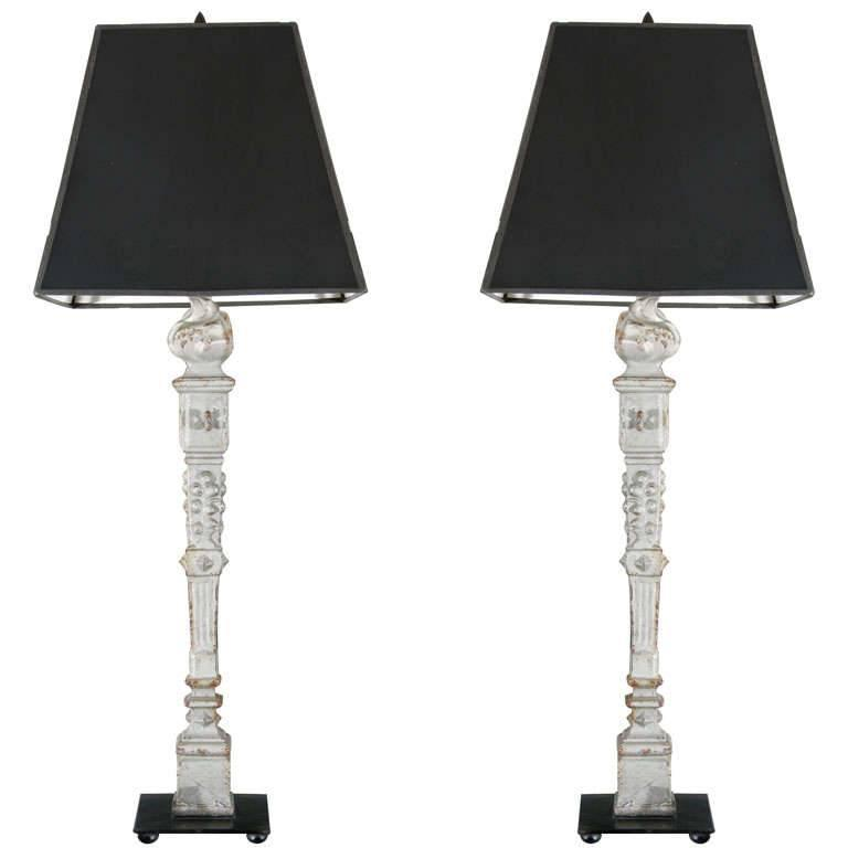 Pair of French Cast Iron Flame Lamps