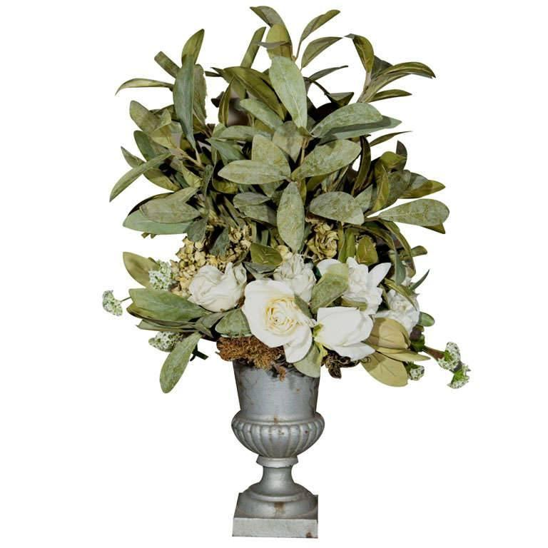 Cast Iron Campana Urn with Fabulous Faux Flowers