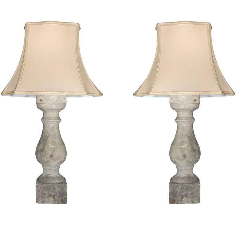 Pair of Cream Colored English Cast Stone Baluster Lamps For Sale