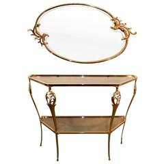 Neo Baroque Gilt Metal Console and its Mirror, circa 1980