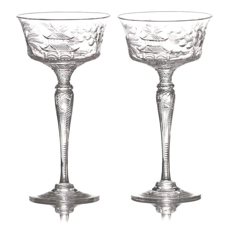 Set of 14 Stevens & Williams Superb Chinoiserie Champagne Goblets
