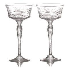 Set of 14 Stevens & Williams Chinoiserie Champagne-Cocktail Goblets