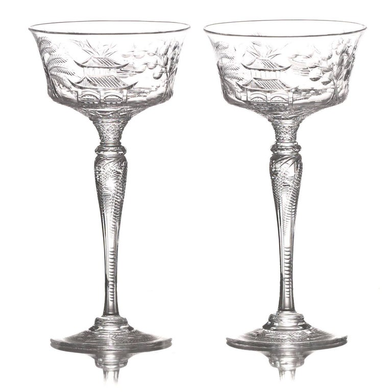 Set of 14 Stevens & Williams Chinoiserie Champagne-Cocktail Goblets For Sale