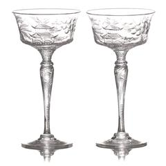 "Set of 14 Stevens & Williams ""Willow"" Champagne Goblets"