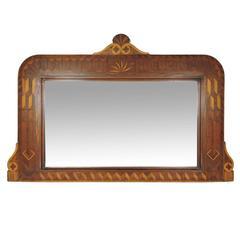 19th Century Folk Art Marquetry and Parquetry Inlaid Mahogany Mirror