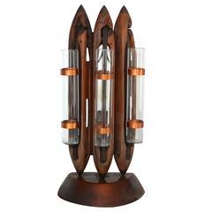 Folk Art Table Lamp of Dogwood Weaving Shuttles