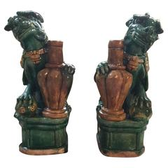 Pair of Qing Dynasty Ceramic Foo Lions