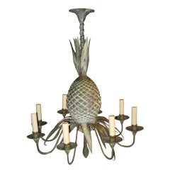 Mid-Century Tin, Pineapple Six-Arm Chandelier